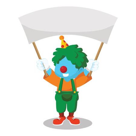 Blauwe clown met banner stock illustratie Stock Illustratie