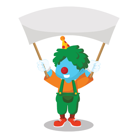 Blue clown holding banner– stock illustration 向量圖像