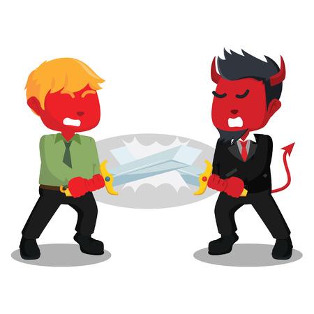 Slag tussen de illustratie van de rode zakenkoning Stock Illustratie