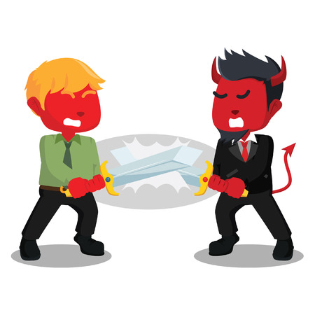 Battle between red business king– stock illustration