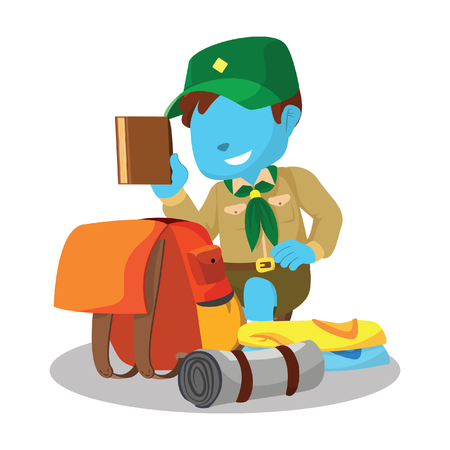 Blue boy scout packing– stock illustration
