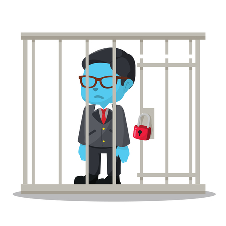 Blue businessman getting jailed– stock illustration