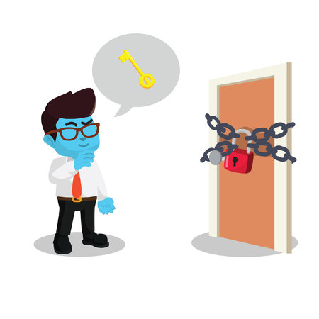 Blue businessman with locked door. Stock illustration