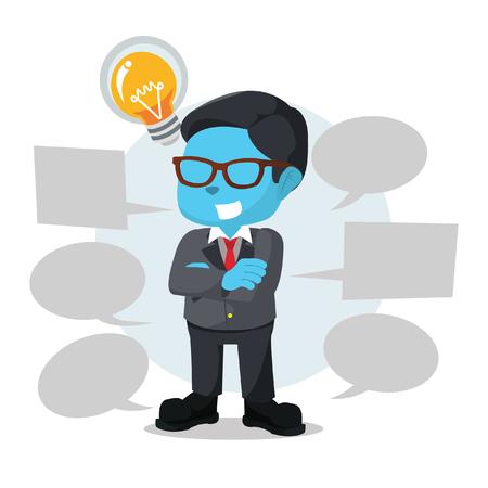 Blue businessman with plenty callout– stock illustration Illustration