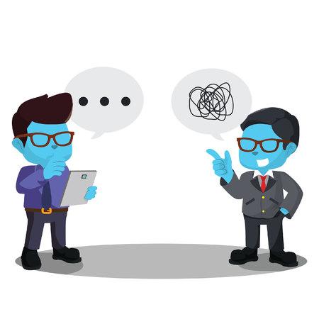 Blue businessman dont understand his coworker– stock illustration