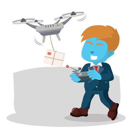 """Blauwe zakenman die drone voor het leveren van mailâ ? """"voorraadillustratie gebruikt Stockfoto - 93308075"""