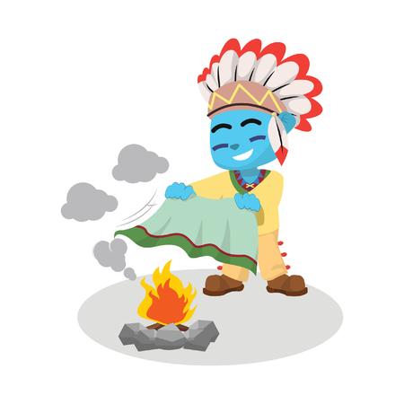 Blue indian boy playing smoke– stock illustration