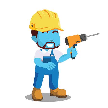 Blue handyman holding drill– stock illustration