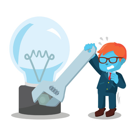 Blue businessman fixing bulb– stock illustration Stock Vector - 93321331