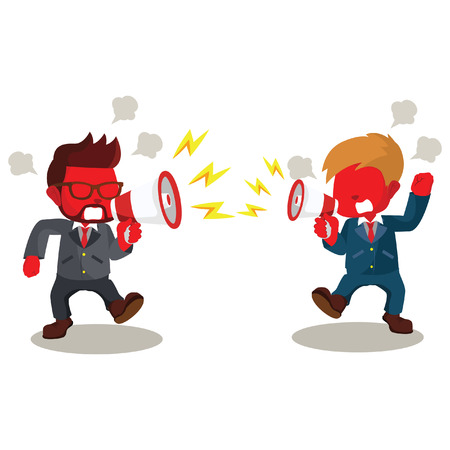 Red businessman fighting with megaphone– stock illustration Illustration