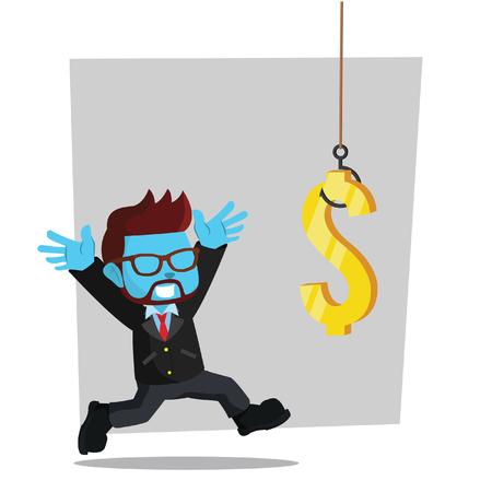 Blue businessman chasing dollars– stock illustration