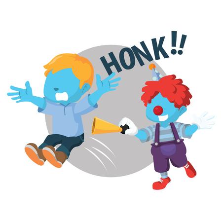 Blue boy getting surprise by blue clown– stock illustration