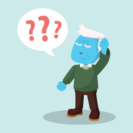 Blue old man confused– stock illustration