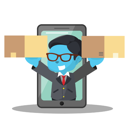Blue businessman get out from phone with two box– stock illustration