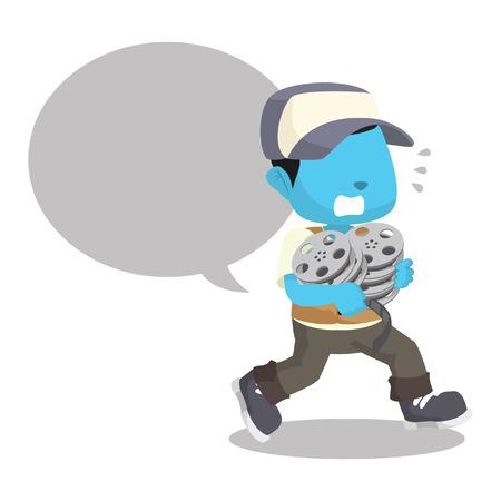 파란색 소년 온건 한 calloutà ¢ â, ¬ â € œ 재고 일러스트와 서둘러