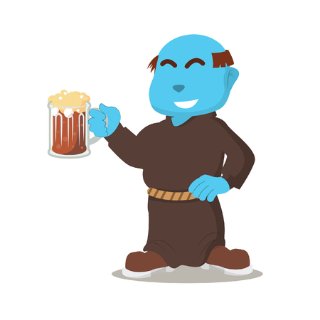 Blue monk holding drink– stock illustration