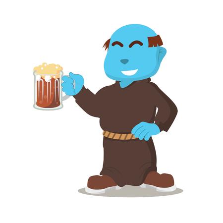 Blue monk holding drink– stock illustration