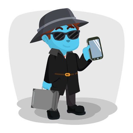 Blue spy agency holding briefcase and smartphone– stock illustration