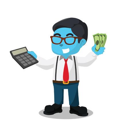 Blauer Buchhalter, der Taschenrechner und geld- Illustration auf Lager hält Standard-Bild - 93368957