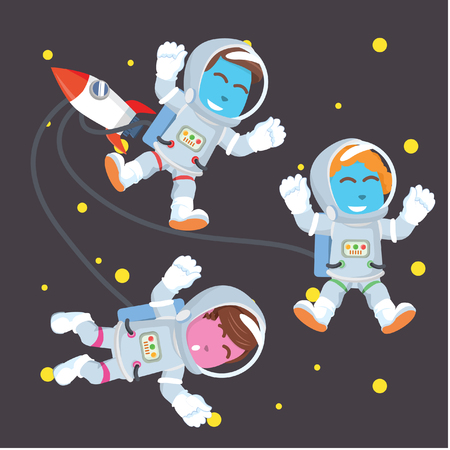 Group of astronaut in space– stock illustration 向量圖像