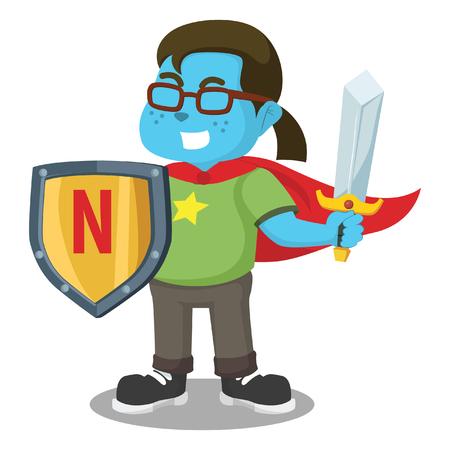 Dressed as super blue nerd– stock illustration