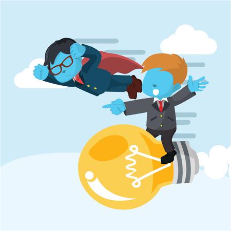 Blue businessman superhero race with businessman on bulb– stock illustration Illustration