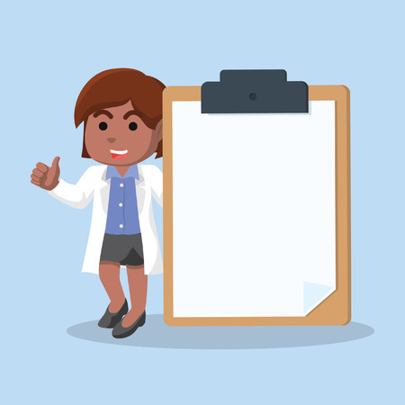 African female doctor holding giant clipboard– stock illustration