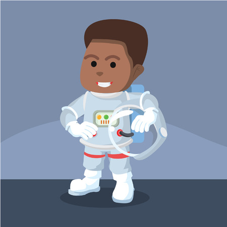 African astronaut removed his helmet– stock illustration