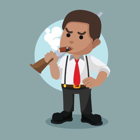 African mafia guy holding shotgun– stock illustration Иллюстрация