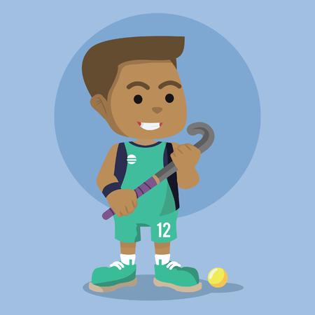 African field hockey player illustration design– stock illustration Ilustração
