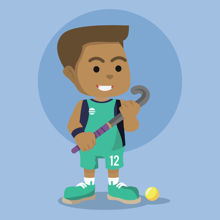 African field hockey player illustration design– stock illustration Ilustracja