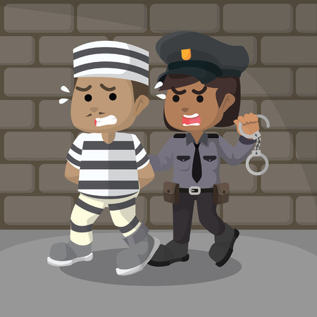 African police women catching a convict– stock illustration