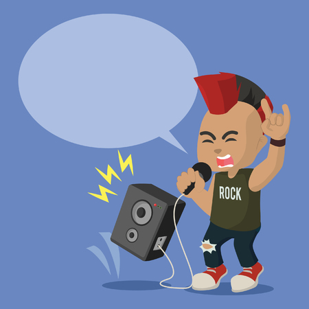 African rocker scream illustration design– stock illustration