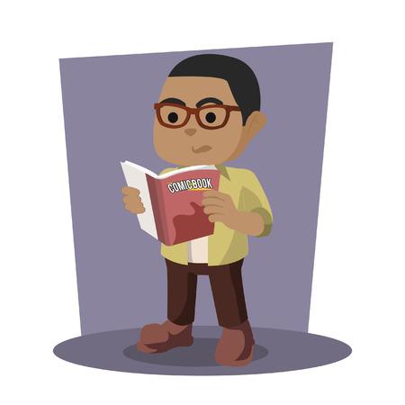 African nerd reading comic– stock illustration