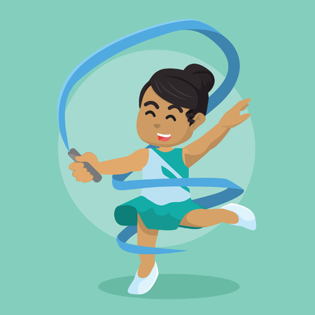 African ribbon dancer making spiral shape with her ribbon– stock illustration