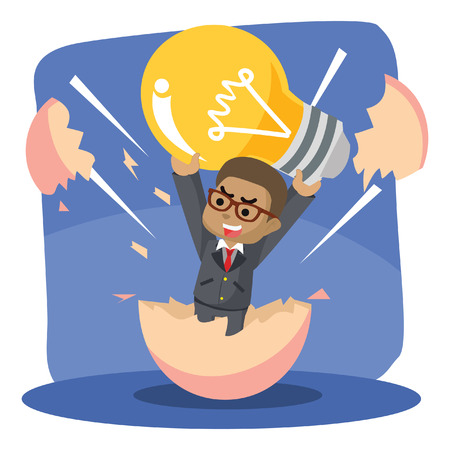 African businessman hatching from egg with holding bulb– stock illustration