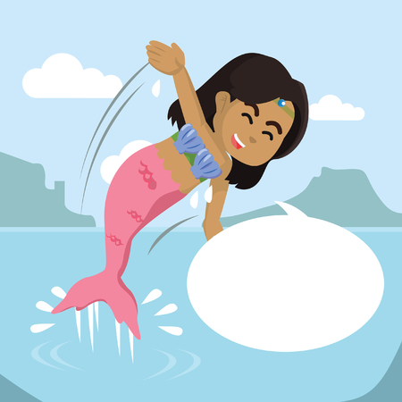 African mermaid girl jump out from water with callout– stock illustration