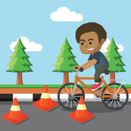 African boy riding bicycle with obstacle– stock illustration