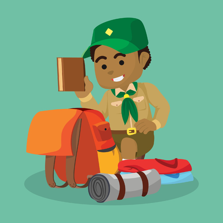 African boy scout packing– stock illustration Ilustracja