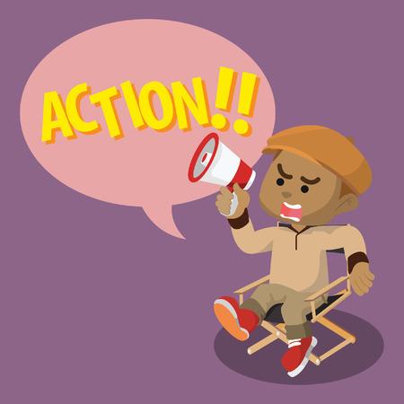 African boy movie director yelling action– stock illustration Illustration