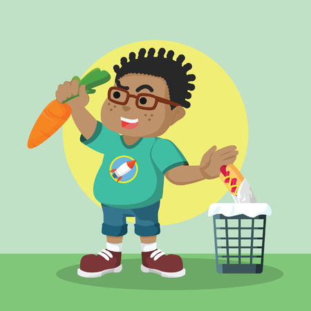 African fat guy trying to eat healthy food– stock illustration