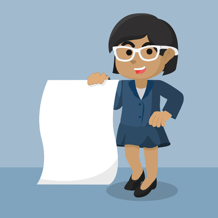 African businesswoman holding a roll of paper– stock illustration 版權商用圖片 - 93320209
