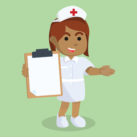 Nurse holding clipboard in stock illustration.