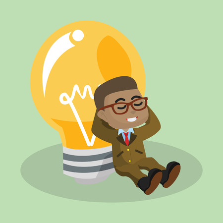 African businessman relaxing with bulb– stock illustration