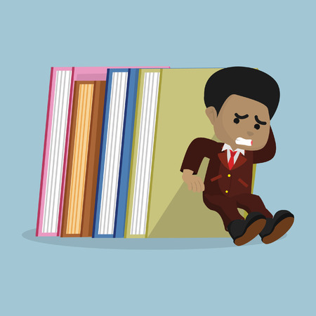 African businessman holding stack of books– stock illustration