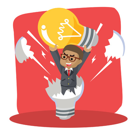 Blue businessman reborn from dead light bulb– stock illustration