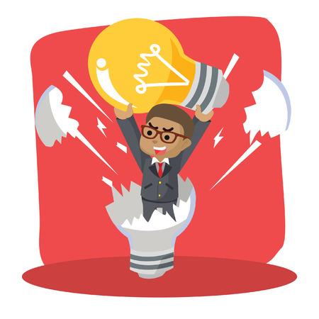 Blue businessman reborn from dead light bulb– stock illustration