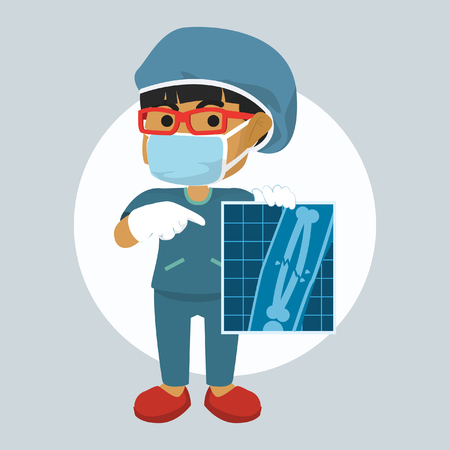 Afrikaanse meisjeschirurg die de voorraadillustratie van het röntgenresultaat tonen Stockfoto - 93308710