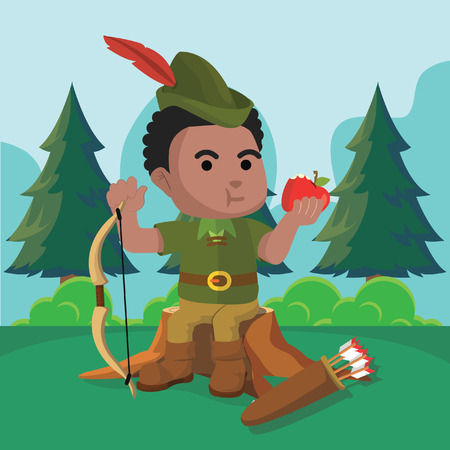 African robin hood sitting on trunk– stock illustration Vectores