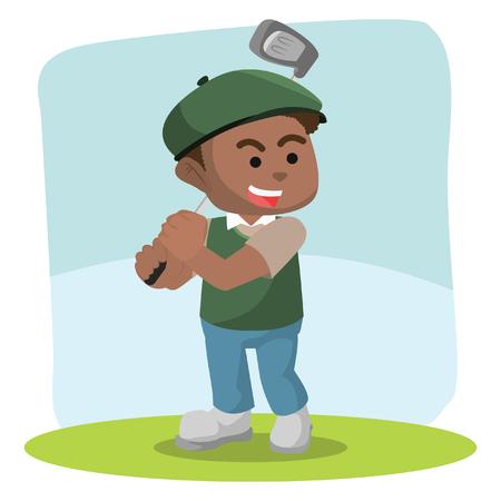African golf player hitting ball– stock illustration